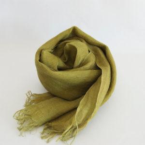 草木染め 柔らかリネンガーゼのストール《若草色》