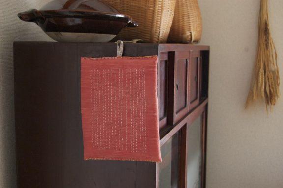 鍋敷き 草木染めのポットマット《インド茜》