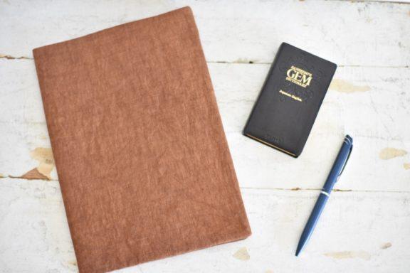 B5ノートカバー|柿渋染め 大人のリネンのノートカバー #01