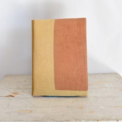 草木染め 大人のリネンのノートカバー モダンキルト#01