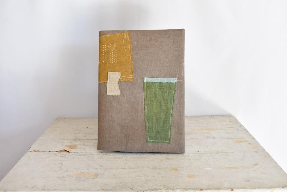 草木染め 大人のリネンのノートカバー コラージュ♯02