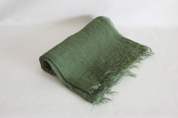 草木染め 柔らかリネンガーゼのストール《モスグリーン》