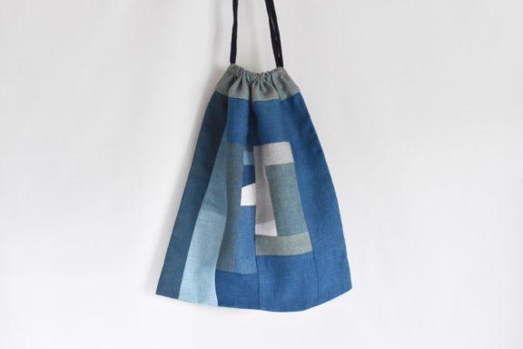 大きな巾着袋|藍染め モダンキルト FUKURO #01