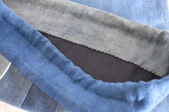 大きな巾着袋|藍染め モダンキルト FUKURO #02