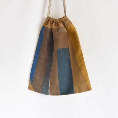 大きな巾着袋|藍染め モダンキルト FUKURO #03