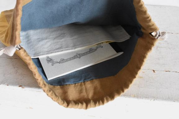 大きな巾着袋 藍染め モダンキルト FUKURO #03
