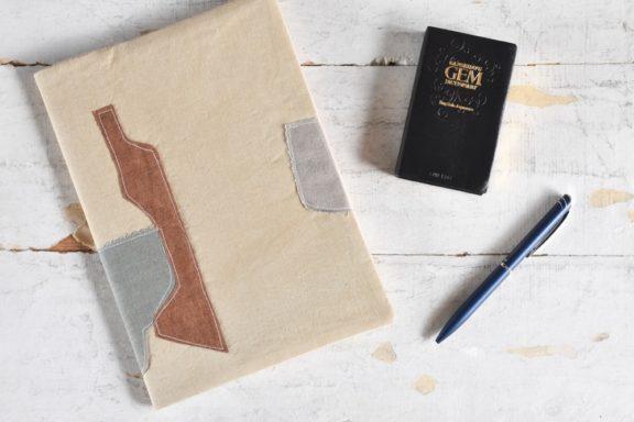 B5ノートカバー|草木染め 大人のリネンのノートカバー コラージュ#03