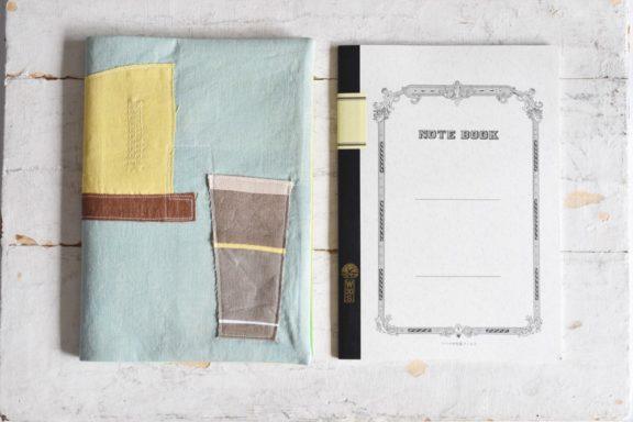 B5ノートカバー|草木染め 大人のリネンのノートカバー コラージュ#06