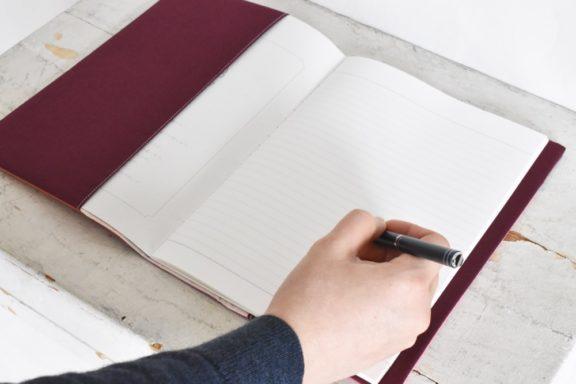 B5ノートカバー|草木染め 大人のリネンのノートカバー モダンキルト#05