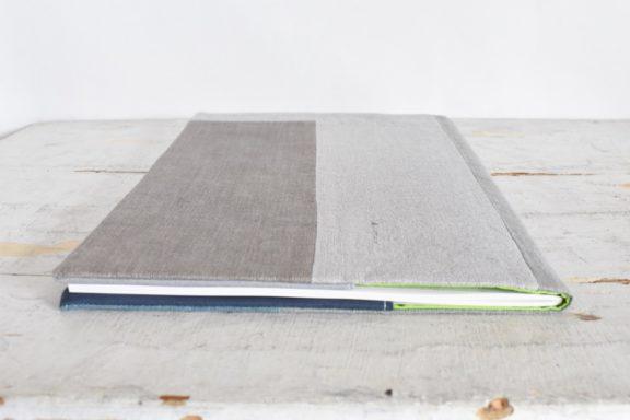 B5ノートカバー|草木染め 大人のリネンのノートカバー モダンキルト#06