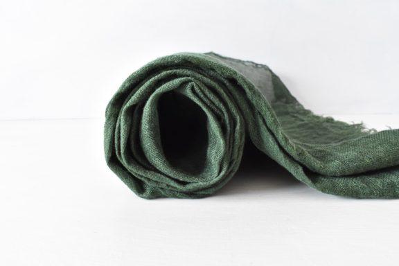 草木染めストール|ボリューミーなリネンガーゼのストール《グリーン》
