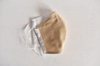 国産ダブルガーゼの立体型の布マスク《ライトベージュ》