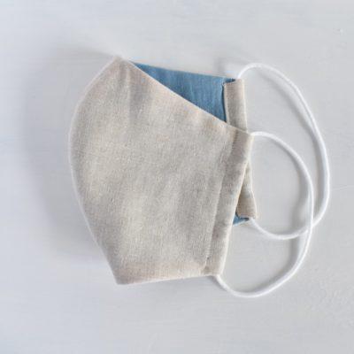 藍染め:立体型の布マスク《インディゴ × ナチュラル》