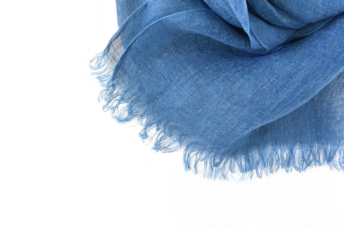 藍染めストール|国産リネンガーゼのストール《インディゴブルー》