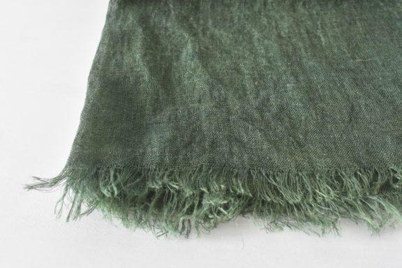 草木染めストール|国産リネンガーゼのストール《グリーン》